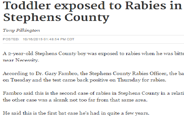 Toddler was exposed to rabies when he was bitten by a bat in Stephens County